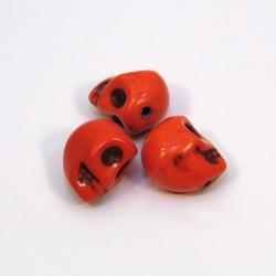 Бусины Черепа, 10мм, натуральный говлит, оранжевые