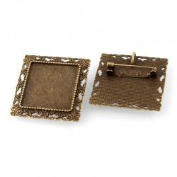 Квадратная основа для броши, бронза