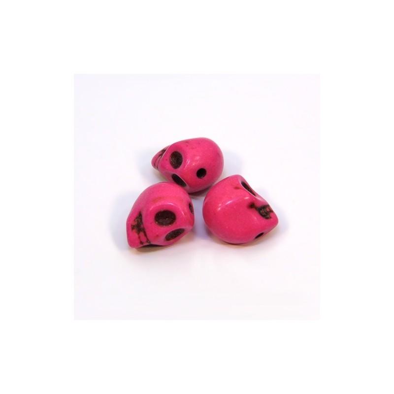 Бусины Черепа, 10мм, натуральный говлит, розовые