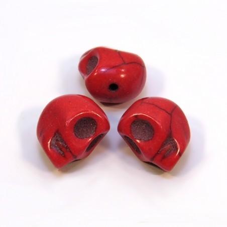 Намистини Черепа, 12мм, натуральний говлит, червоні