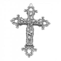"""Кулон """"Хрест з квітами"""" 74мм, сталевий"""
