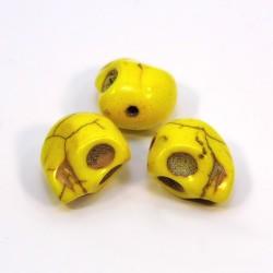 Бусины Черепа, 12мм, натуральный говлит, желтые