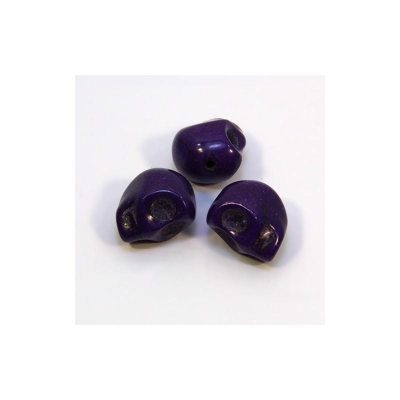 Намистини Черепа, 12мм, натуральний говлит, фіолетовий