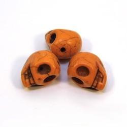 Бусины Черепа, 13мм, натуральный говлит, оранжевые