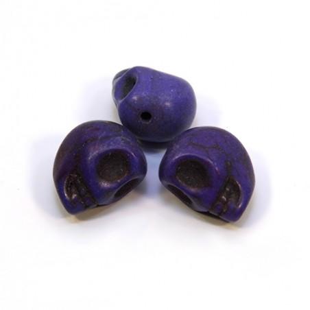 Бусины Черепа, 13мм, натуральный говлит, фиолетовые