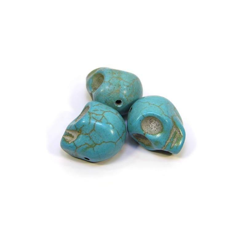 Намистини Черепа, 18мм, натуральний говлит, бірюзовий (блакитний)