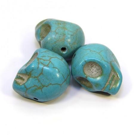 Бусины Черепа, 18мм, натуральный говлит, бирюзовый (голубой)