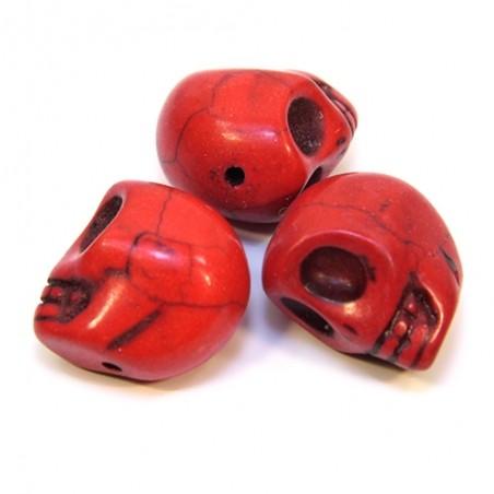 Намистини Черепа, 18мм, натуральний говлит, червоні