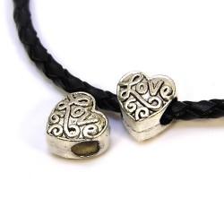 Намистина Серце, металева, 10х10 мм, колір сталевий