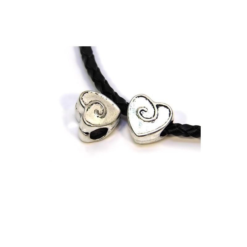 Бусины Сердечки, металлические, 11х11 мм, цвет стальной