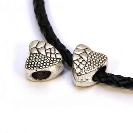 Бусины Сердечки, металлические, 9х10 мм, цвет стальной