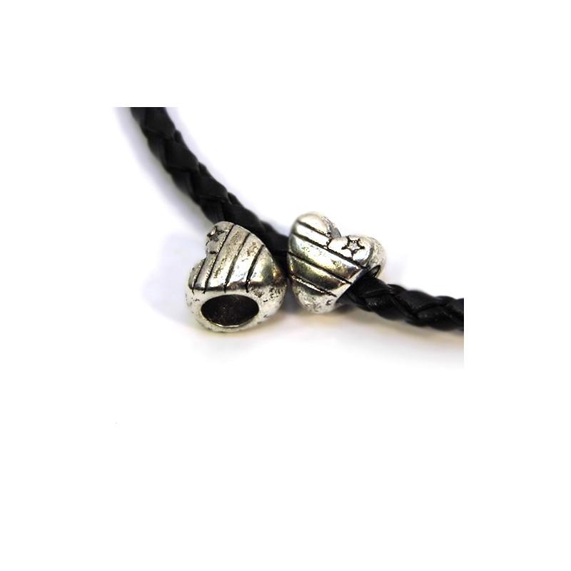 Бусины Сердечки, металлические, 9х8 мм, цвет стальной