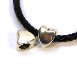 Бусины Сердечки, металлические, 8х9 мм, цвет стальной