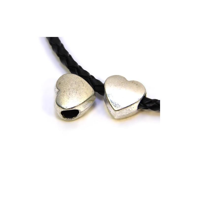 Намистина Серце, металева, 11х11 мм, колір сталевий