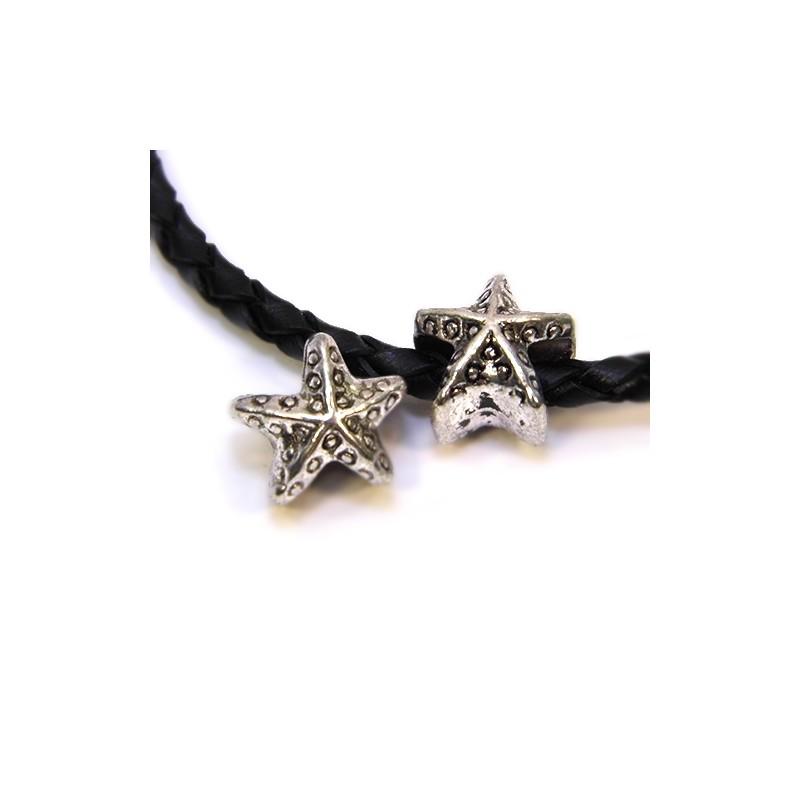 Бусины Звездочки морские, металлические, 11х11 мм, цвет стальной