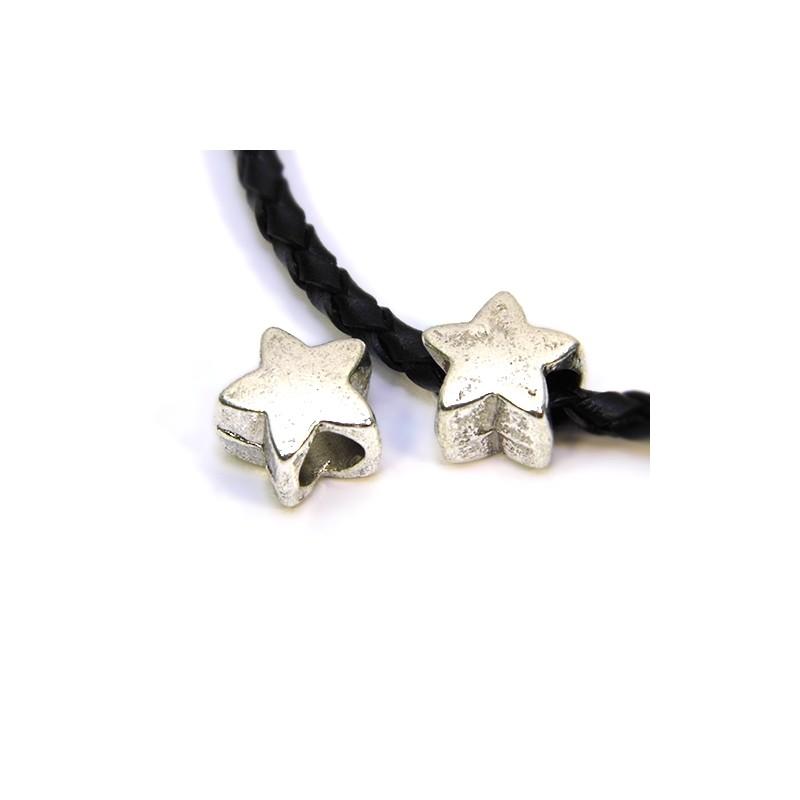 Бусины Звездочки, металлические, 11х11 мм, цвет стальной