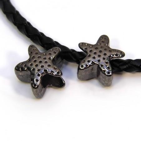 Бусины Звездочки, металлические, 12х12 мм, цвет черный