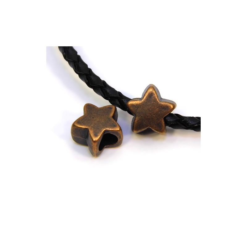 Бусины Звездочки, металлические, 11х11 мм, цвет медный