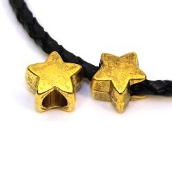 Бусины Звездочки, металлические, 11х11 мм, цвет античное золото