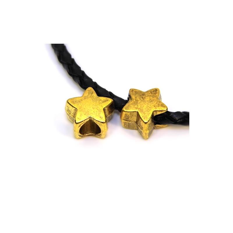 Намистини Зірочки, металеві, 11х11 мм, колір античне золото