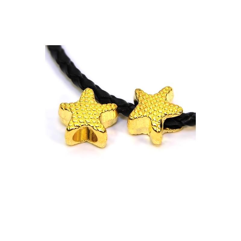 Бусины Звездочки, металлические, 12х13 мм, цвет золотой