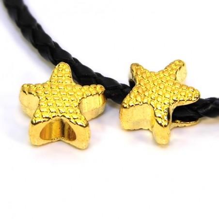 Намистини Зірочки, металеві, 12х13 мм, колір золотий