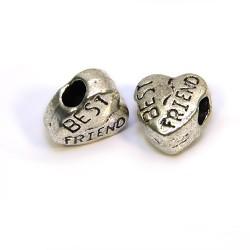 Намистина Серце, металева, 10х11 мм, колір сталевий