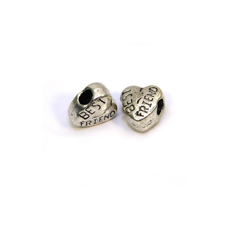Бусины Сердечки, металлические, 10х11 мм, цвет стальной