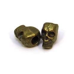 Намистина Череп, металева, 7х12 мм, колір бронзовий