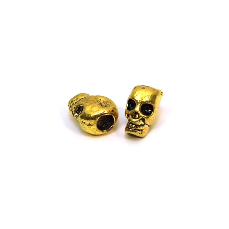 Бусина Череп, металлическая, 7х12 мм, цвет античное золото