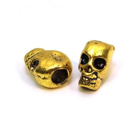 Бусина череп, 7х12мм, античное золото
