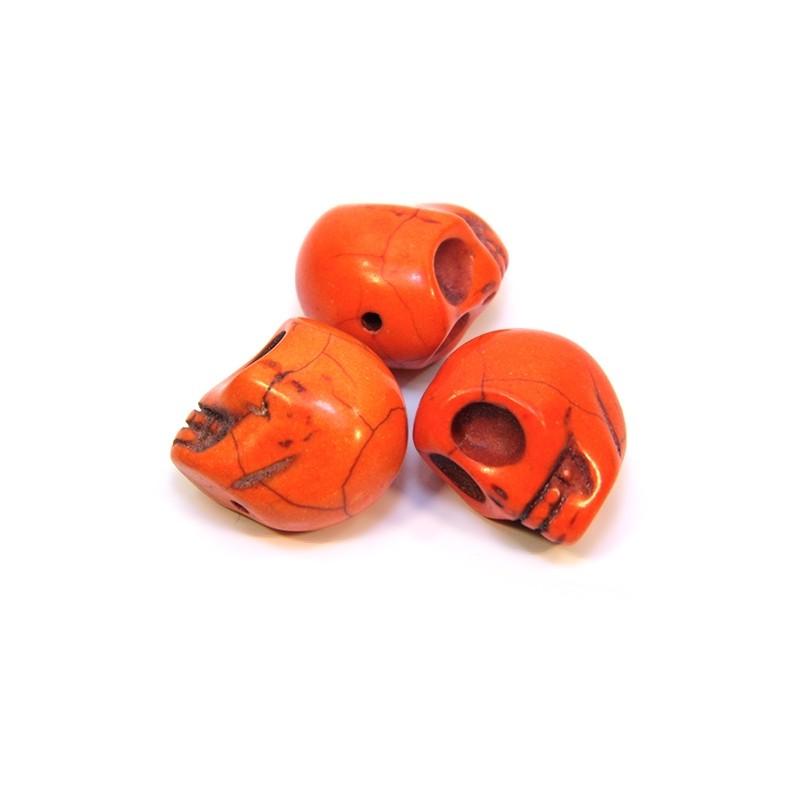 Бусины Черепа, 18мм, натуральный говлит, оранжевые