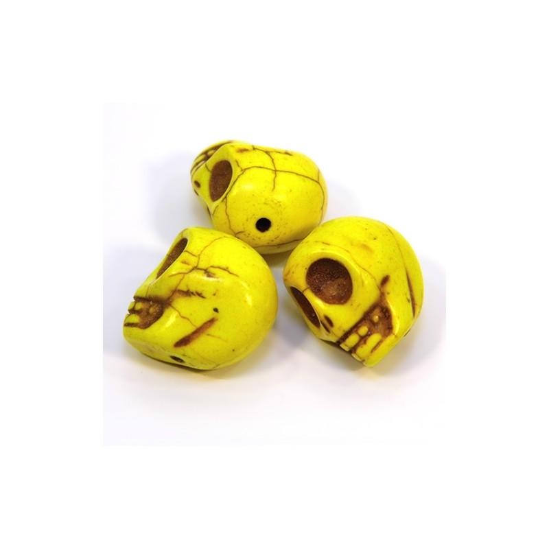 Намистини Черепа, 18мм, натуральний говлит, жовті
