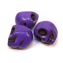 Бусины Черепа, 18мм, натуральный говлит, фиолетовые