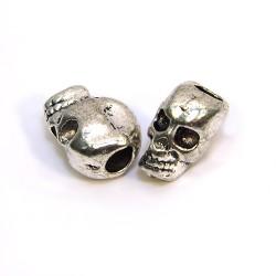 Намистина Череп, металева, 7х12 мм, колір сталевий