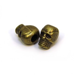 Бусина Череп, металлическая, 7х10 мм, цвет бронзовый