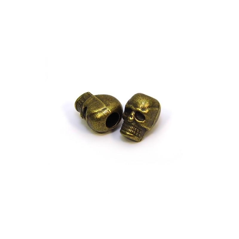 Намистина Череп, металева, 7х10 мм, колір бронзовий