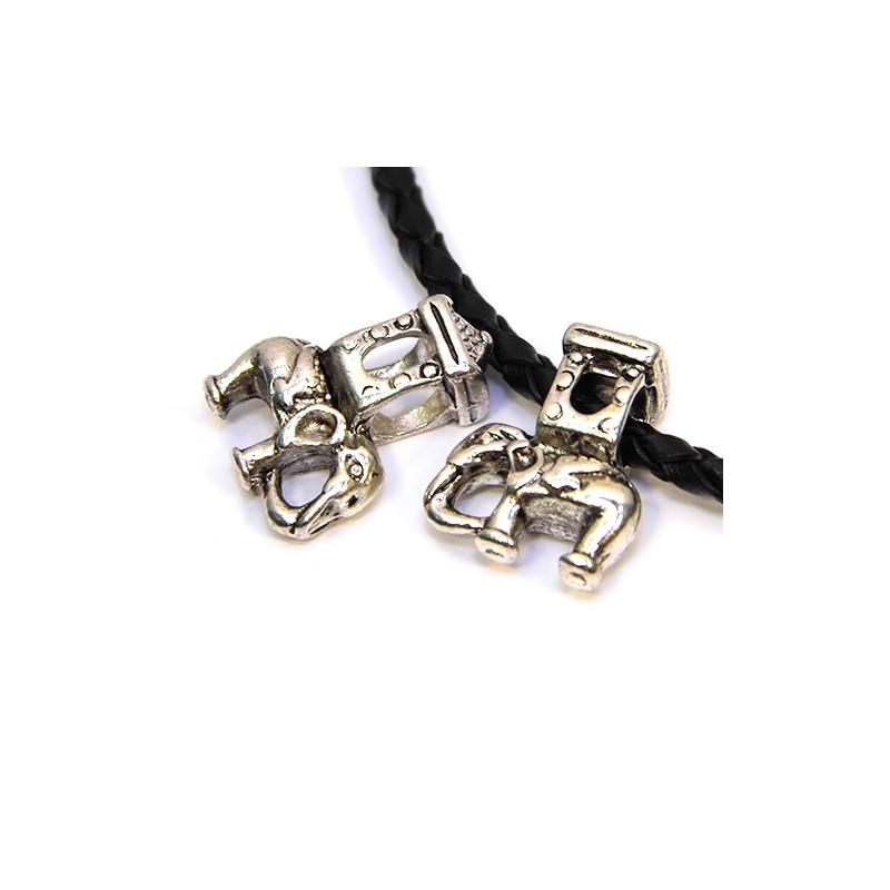 Бусины Слоники, металлические, 14х20 мм, цвет стальной