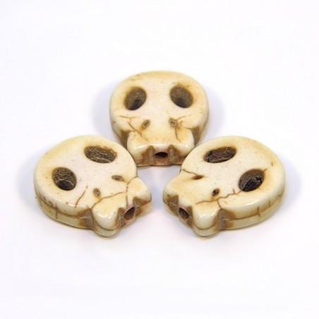 Намистина Череп, 15мм, натуральний говлит, колір слонової кістки, плоска