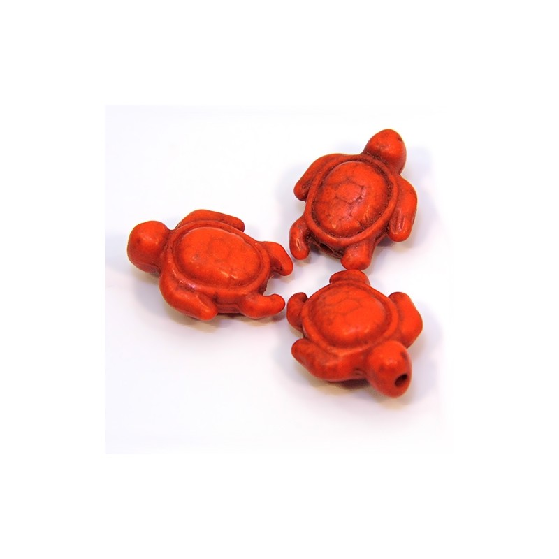 Бусина Черепаха, 19мм, имитация бирюзы (натуральный говлит), оранжевая, плоская