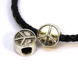 Бусины Символ Мира (Пацифик), металлические, 10х10 мм, цвет стальной