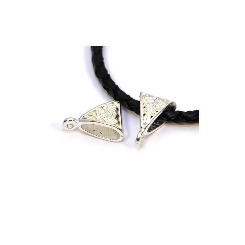 Бейл (кулонотримач) ажурний, металевий, 10х15 мм, колір срібний