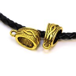 Бейл (кулонодержатель) ажурный, металлический, 7х14 мм, цвет античное золото