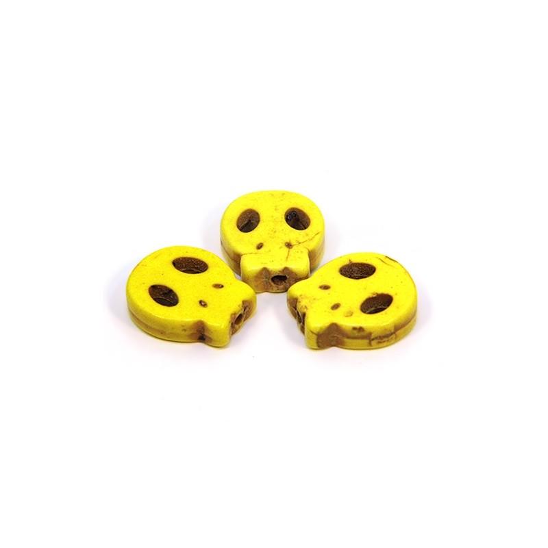 Бусина Череп, 15мм, натуральный говлит, желтого цвета, плоская