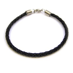 Основа для браслета Пандора, 18см, плетеная, натуральная кожа, черная