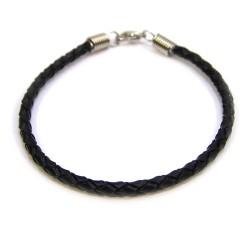 Основа для браслета Пандора, 18см, плетена, натуральна шкіра, чорна
