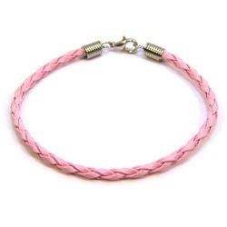 Основа для браслета, 18см, плетена, штучна шкіра, рожева