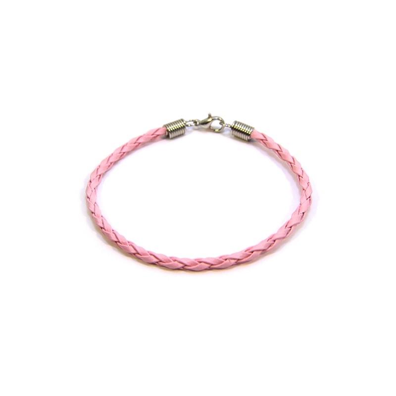Основа для браслета Пандора, 18см, плетена, штучна шкіра, рожева