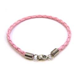 Основа для браслета Пандора, 18см, плетеная, искусственная кожа,  розовая