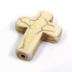 Бусина Крестик, 30мм, натуральный говлит, цвета слоновой кости, плоская